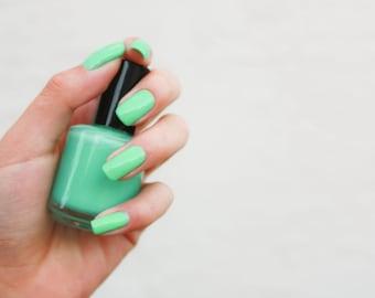 mint nail polish, glitter nail polish, custom nail polish, handmade nail polish, hand mixed nail pollish