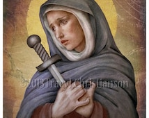 Our Lady of Sorrows Catholic Art Print,  Sorrowful Mother, Virgin Mary #4040