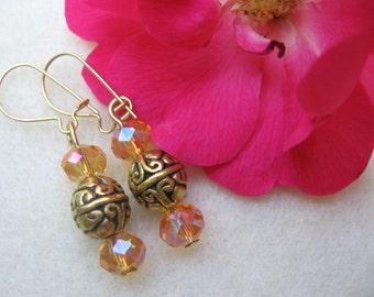CLEARANCE SALE.  Golden Crystal Dangle Earrings/Gifts for Her/Gold Earrings/Crystal Earrings/Dangle Earrings/Clearance Earrings