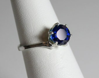 Blue Sapphire Sterling Silver Ring / Sterling Silver Sapphire Gemstone Ring