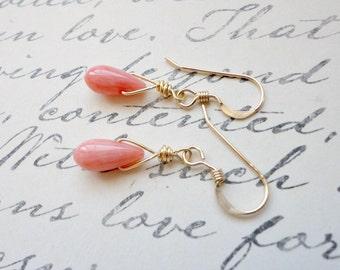 Coral earrings, Pink coral earrings, Wedding jewelry, Bridesmaid gift, Simple everyday earrings