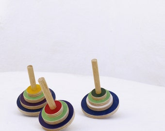 Set of 3 wooden spinning tops, design wooden toy for kids