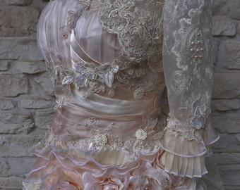 CUSTOM Handmade Peach Cream Victorian Wedding Lace BOLERO Faux Pearls Size Custom