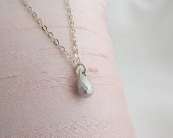Silver necklace - Tiny drop necklace, Silver drop necklace, Simple small drop necklace, Silver jewelry, Dainty silver necklace