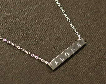 Sterling Silver Bar Personalized Necklace - Name Necklace - Aloha Necklace in Sterling Silver