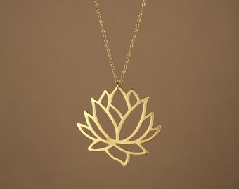 Lotus necklace - gold lotus flower necklace - blooming flower - lotus -  a 22k gold overlay lotus flower on a 14k gold vermeil chain