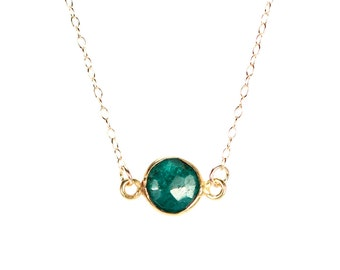 Emerald necklace - may birthstone - green emerald - love stone - a gold bezel set green emerald on a 14K gold veremil chain - EM7