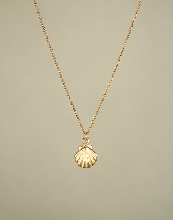 Gold shell necklace - tiny shell necklace - sea shell necklace - a tiny gold sea shell on a 14k gold vermeil chain