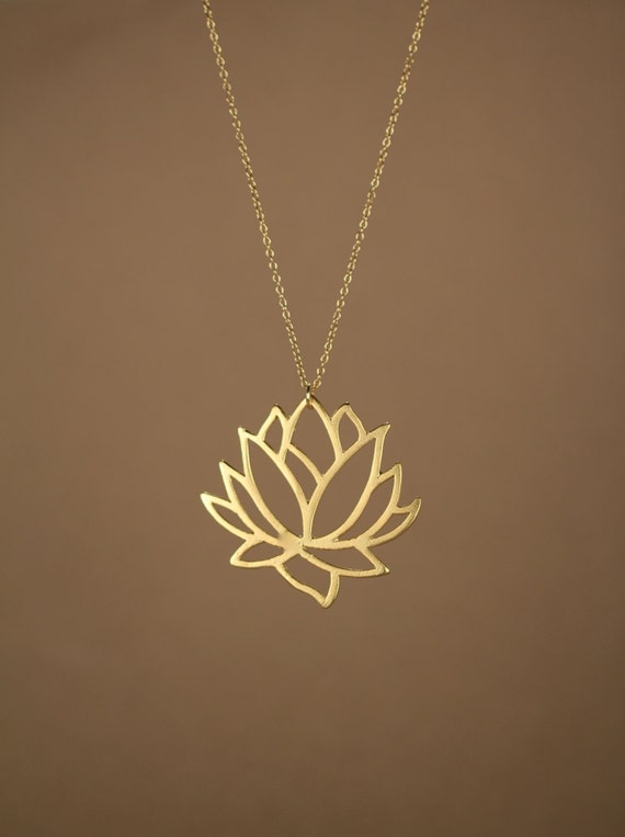 Lotus necklace gold lotus flower necklace blooming flower like this item audiocablefo light catalogue