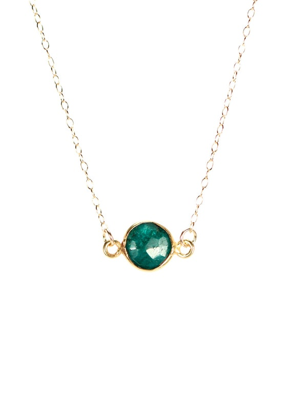 Emerald necklace - may birthstone - green emerald - layering necklace - a 22k gold lined genuine green emerald on a 14K gold filled chain