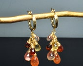 Spessartite Garnet, Oregon Sunstone, Citrine Cascade Earrings