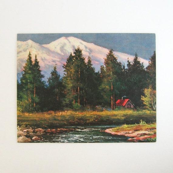 Mount Shasta Vintage Landscape Art Print Robert Wood