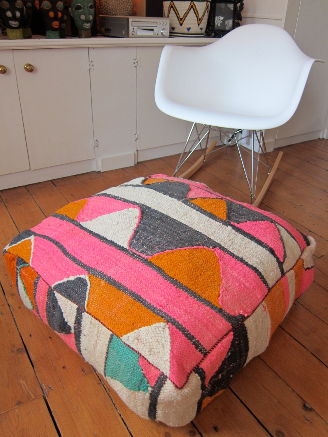 Vintage Kilim Pouf / Ottoman / Foot Stool By BazaarLiving