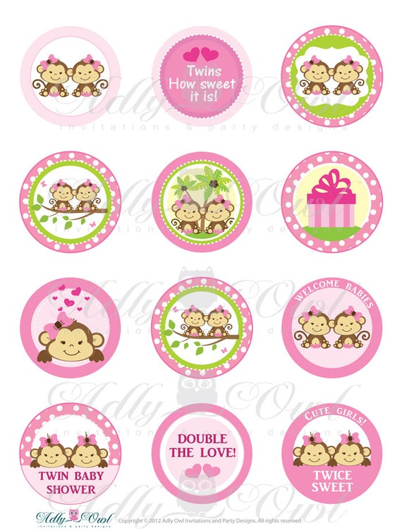 Items Similar To Pink Twin Girl Monkey Baby Shower Cupcake