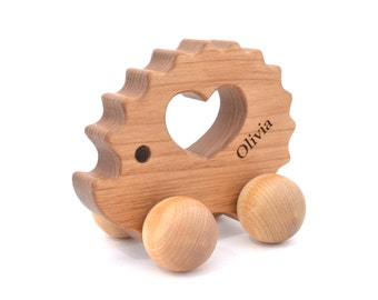 Personalized Wooden Toy - Waldorf Wood Animal Toy -  Natural Hedgehog Push Toy for Babies and Toddlers - Montessori EcoFriendly Keepsake Toy