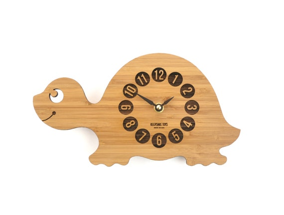 Wood Turtle Clock Baby Nursery Decor Bamboo Clock By