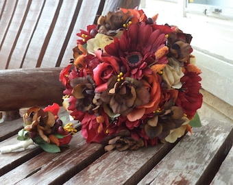 Fall Wedding / Country Wedding Silk Bridal Bouquet With Real Touch Red Rose Buds / Rustic Wedding / Silk Wedding Flowers / Country Bridal
