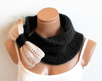 Knitted Bow Scarf Black Vanilla, knit chunky scarf, Bow Neck Warmer, Cowl, Cozy Knit Scarves, snood scarf, fashion accessories, sale scarf