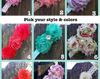 Shabby  chic flower headbands - pick your style and color - boutique headbands, girly headbands, photo prop, girl accessories
