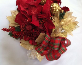 Red and Gold Christmas Centerpiece - New Price!!