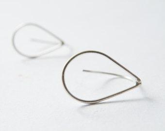 Minimalist Silver Earrings Sterling Silver Drops Geometric Drop Earrings by SteamyLab
