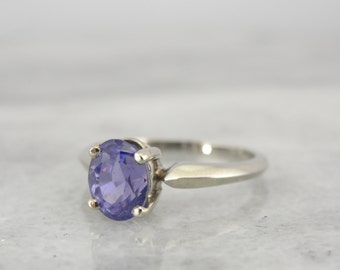 True Purple Sapphire Engagement Ring, Rare Gemstone with Amazing Color in White Gold Solitaire Setting WYPR7C-P
