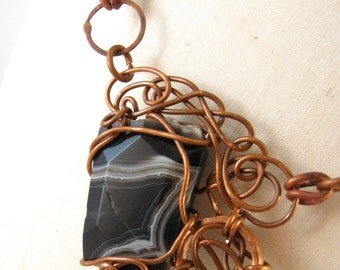Copper Wire Wrapped Agate Necklace