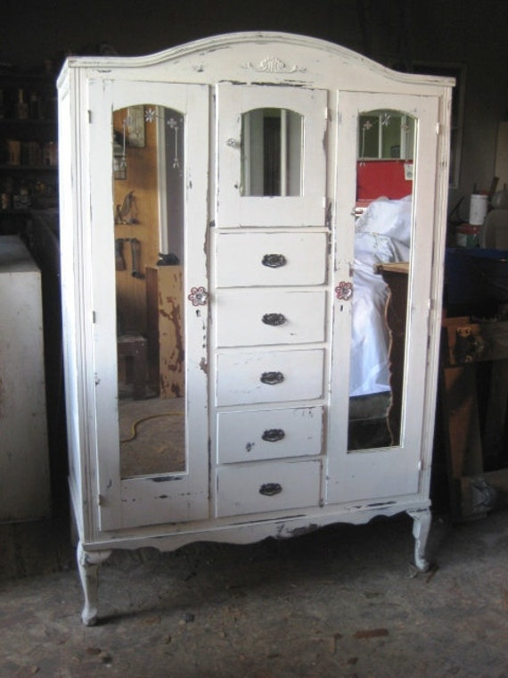 Vintage Armoire Distressed White Finish Shabby By