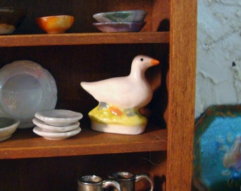 French Porcelain Goose 1 Inch Scale Miniature Dollhouse Miniature
