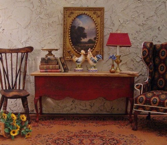 Rustic French Country Red Console 1/12th Scale Dollhouse