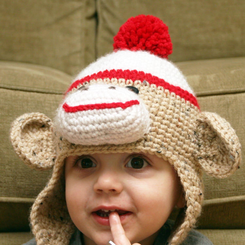 Sock Monkey 3D Ear Flap Crochet Hat by TheTwistedStitchery ...