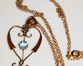 Art Nouveau Aquamarine and Seed Pearl Heart Pendant and Chain in 9ct Gold FREE POSTAGE