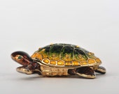 Green and Gold Sea Turtle Faberge Styled Trinket Box Handmade by Keren Kopal Enamel Painted Decorated with Swarovski Crystals