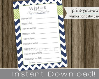 Wishes for Baby boy cards, printable, navy blue chevron and green, INSTANT DOWNLOAD, digital file, print your own , babyshower, baby shower