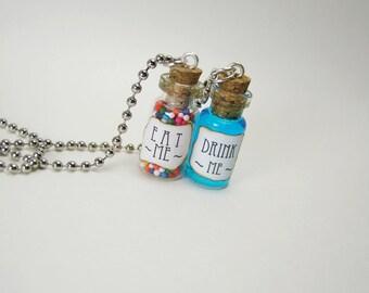 Eat Me & Drink Me Glass Bottle Necklace Charm Set - 1ml Vial Cork - Alice in Wonderland Tiny Jar