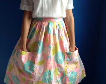 1950s 1960s Pink Flowery Summer's Day Skirt