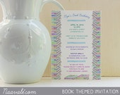 Invitation - Book theme - Shower, Birthday, Book Club, Customize text for any event
