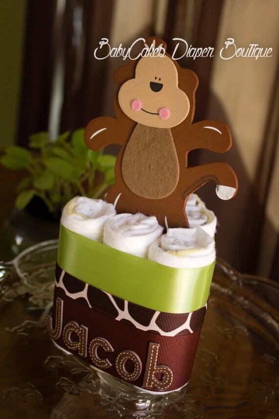 Monkey Baby Shower Centerpiece | Jungle Baby Shower | Safari Baby Shower | Monkey Diaper Cake Centerpiece | Spider Monkey | Baby Boy Shower