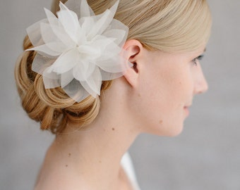 "Bridal Silk Flower, Wedding Hair Flower, Headpiece - ""Violetta"""
