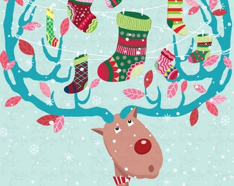 Christmas ClipArt,Christmas Reindeer with Stocking,Christmas Stocking Cm021 perfect for cards, invitation, scrapbooking and all paper craft