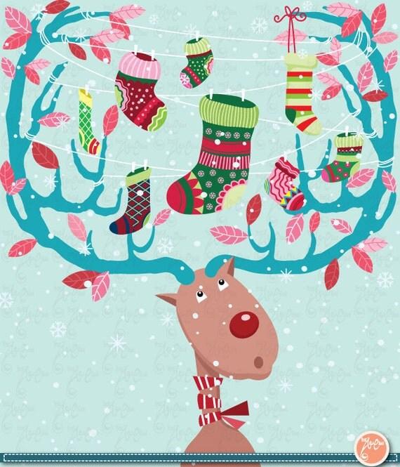 Christmas ClipArt,Christmas Reindeer with Stocking,Christmas