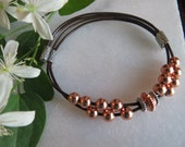 Leather bracelet, Sterling silver bracelet, Copper bracelet, Double bracelet, Casual bracelet, Slide bracelet, Silver bracelet