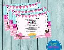 Sleep Over Slumber Party Birthday Invitation Cute and Girly - YOU PRINT