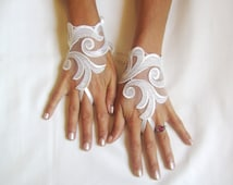 Ivory lace gloves  bridal  wedding fingerless burlesque body tattoo storm wind guantes romantic bridesmaid glove