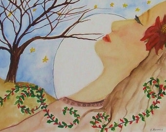 "Watercolor Painting  entitled"" Winter's Dream""."
