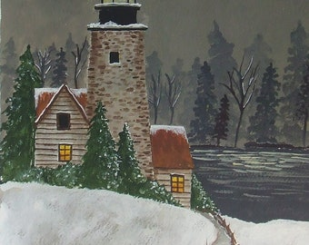"Acrylic painting entitled ""Light House At Night""."