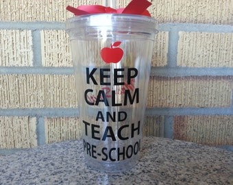 Teacher Gifts - Keep Calm and Teach Pre-School  - Teacher Gift - Custom - Personalize with Name