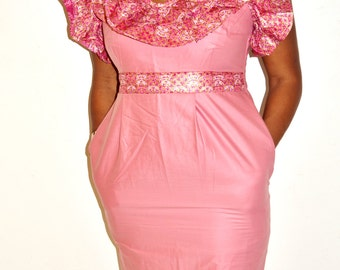African Ankara Print and Wooden  Dress, Pink Short Dress, African Print Dress