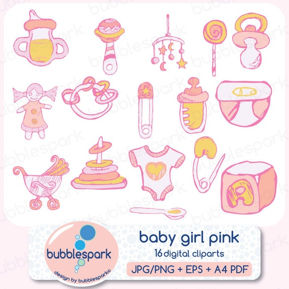 Girl Toys Clip Art : Items similar to baby girl toys and clothing digital