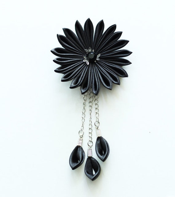 Black Flower Hair Accessory J7213: Items Similar To Black Kanzashi Flower Hair Clip